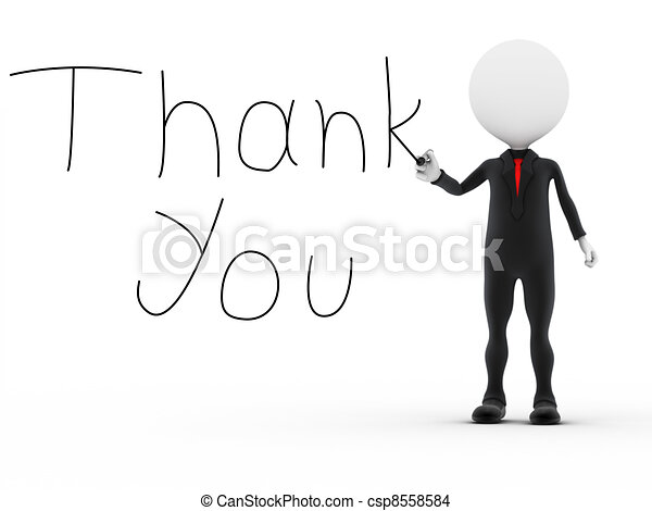 Businessman writting the word thank you - csp8558584