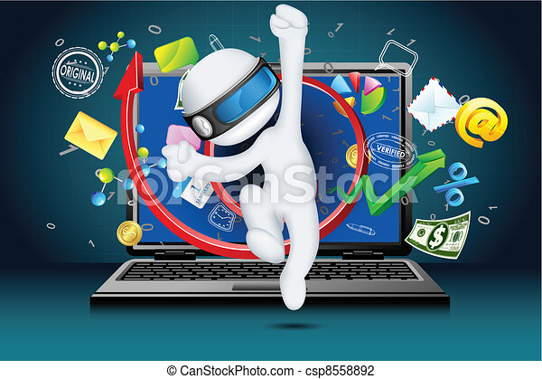 3d Business Man coming out of Laptop - csp8558892