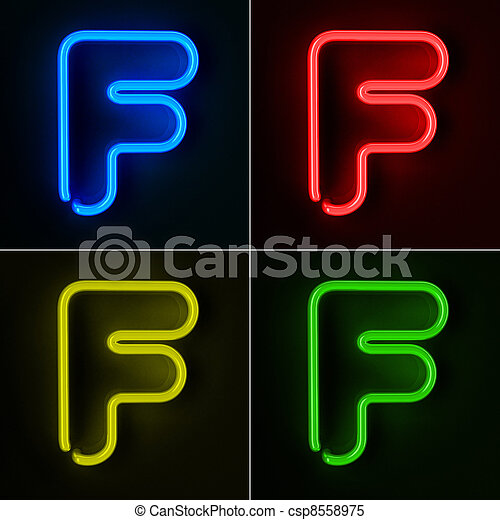 Neon Sign Letter F - csp8558975