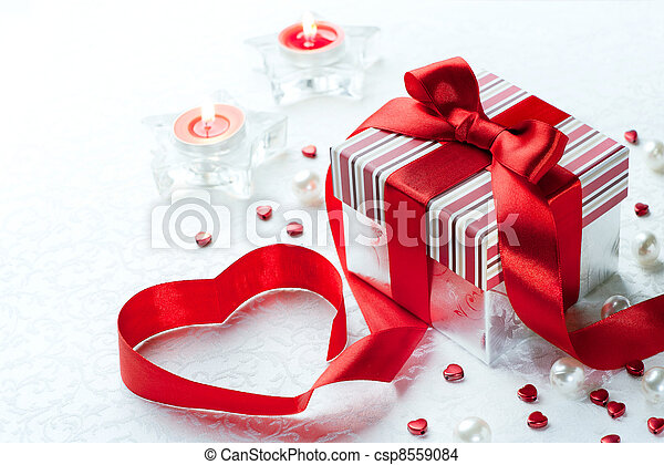 Art Valentine Day Gift box with red ribbon  bow heart - csp8559084