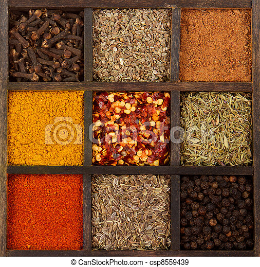 assorted herbs and spices - csp8559439