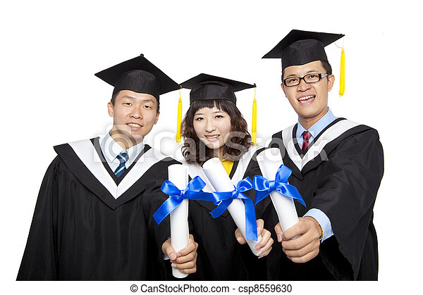 graduation students isolated on white background - csp8559630
