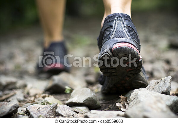 Trail walking in mountains - csp8559663