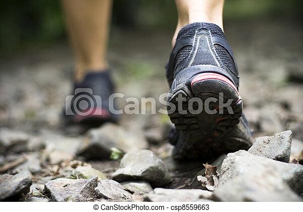 Trail walking in mountains - csp8559663