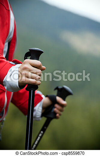 Nordic Walking in mountains - csp8559870