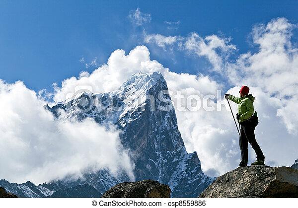 Hiking in Himalaya Mountains - csp8559886