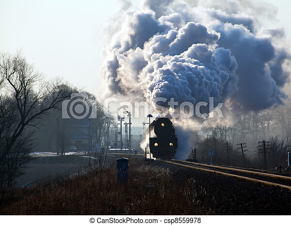 Old retro steam train - csp8559978