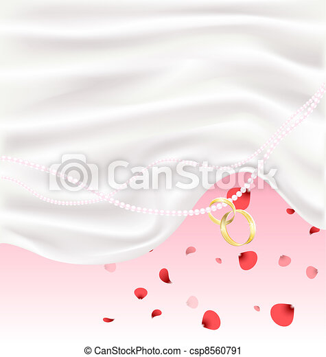 silk, red petals and two golden rings - csp8560791