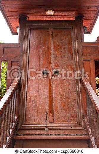 Stock Photo - Thai style stairway to door & Stock Image of Thai style stairway to door - Thai style wooden ... Pezcame.Com