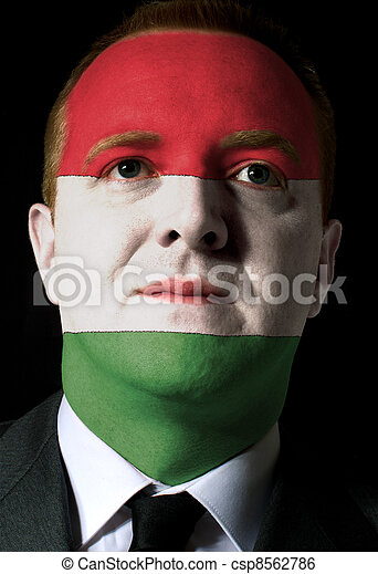 Face of serious businessman or politician painted - csp8562786