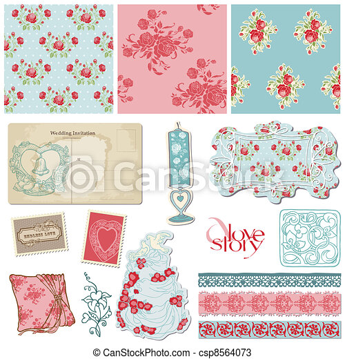 Scrapbook Vintage Wedding Collection - design elements for invitation, decoration in vector - csp8564073