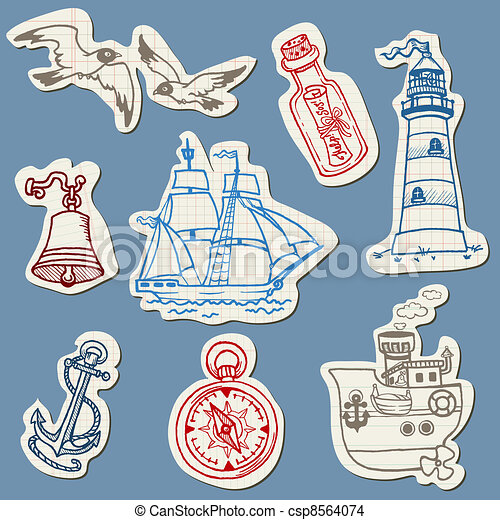 Nautical doodles on Torn Paper- Hand drawn collection in vector - csp8564074
