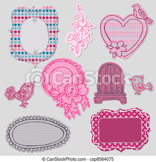 Set of Cute Doodle Frames - with Flower Elements and Birds in vector - csp8564075