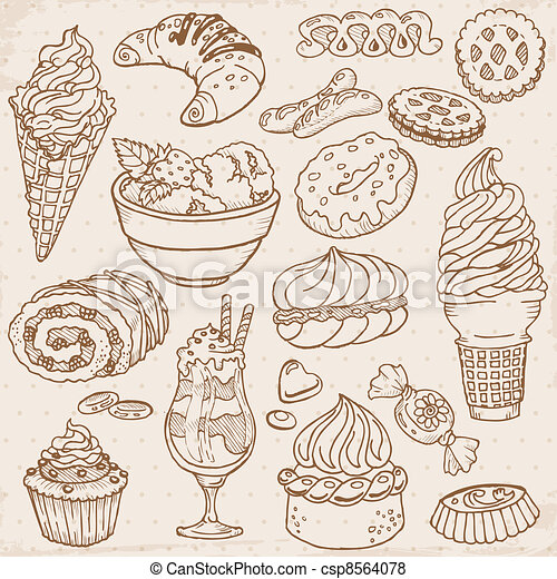 Set of Cakes, Sweets and Desserts - hand drawn in vector - csp8564078