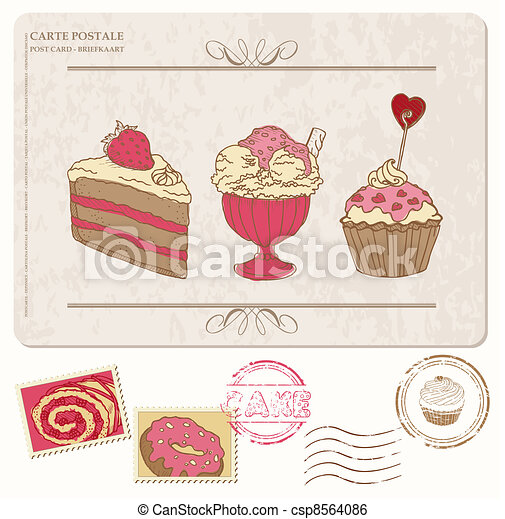 Set of cupcakes on old postcard with stamps - for design and scrapbooking - csp8564086
