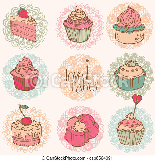 Cute Card with Cakes and Desserts - for your design and scrapbook in vector - csp8564091