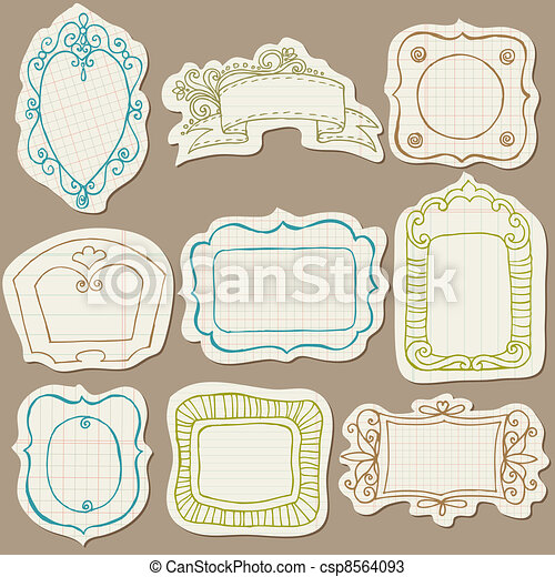 Set of Doodle Frames on torn paper - with Flower Elements in vector - csp8564093