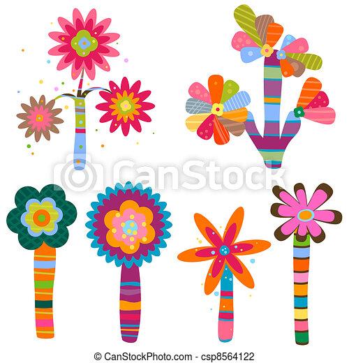 retro flowers - csp8564122
