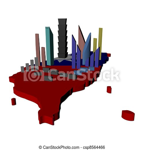 abstract skyscrapers on Taiwan map flag illustration - csp8564466