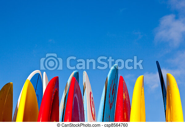 Stack of surfboards by seaside - csp8564760