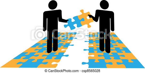 People puzzle problem solution collaboration - csp8565028