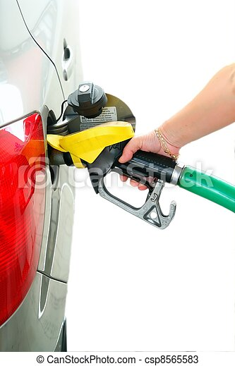 Closeup refuel gasoline in gas-station on white background - csp8565583