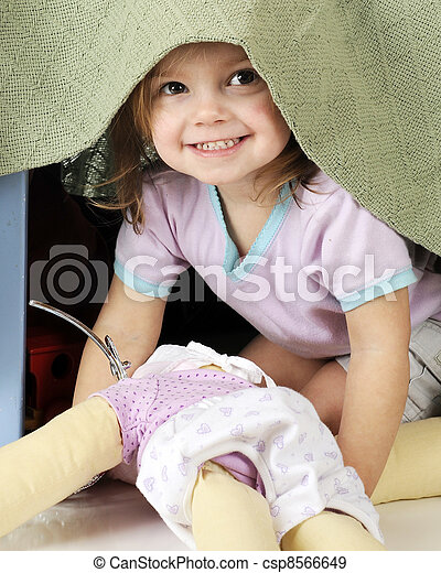 Peek-a-Boo Preschooler - csp8566649