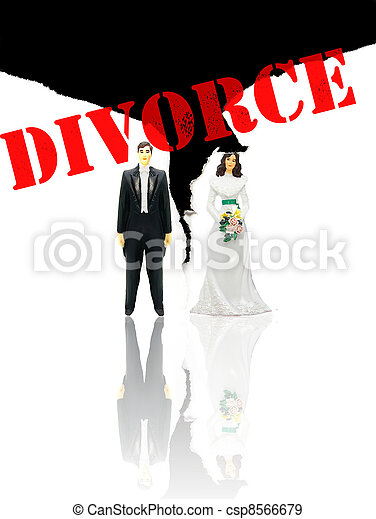 wedding couple figures and ripped paper (divorce concept) - csp8566679