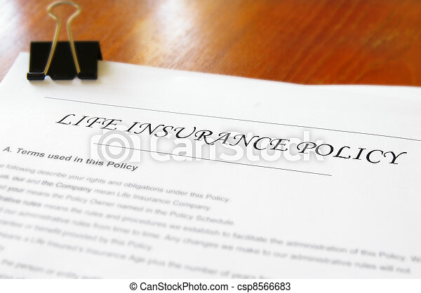 closeup of a life insurance policy on a desk - csp8566683