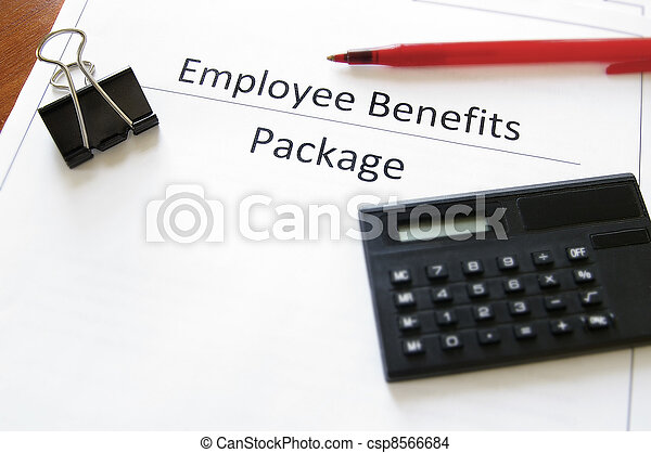 employee benefits package with calculator and pen - csp8566684