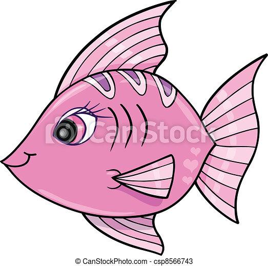 Pink Girl Fish Ocean Vector  - csp8566743