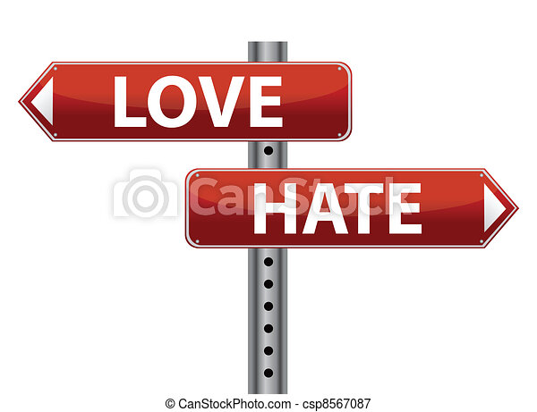 Dilemma Love and Hate sign - csp8567087