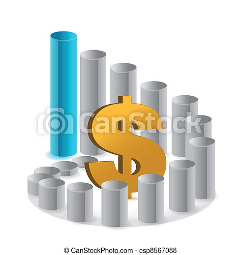 Bussiness Graph with Dollar sign - csp8567088