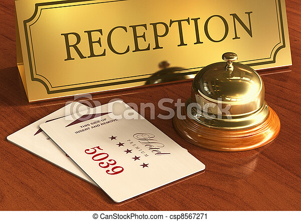 Service bell and cardkeys on hotel reception desk - csp8567271