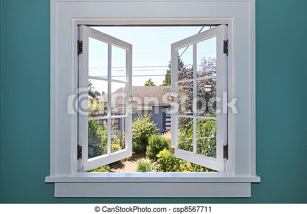 Open window to the back yard with small shed. - csp8567711