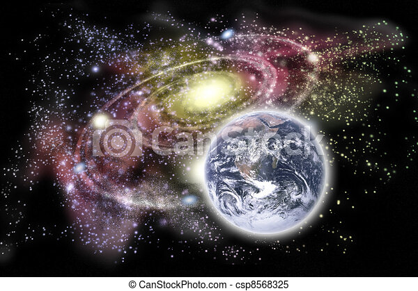 Planet earth and galaxy in the background - csp8568325
