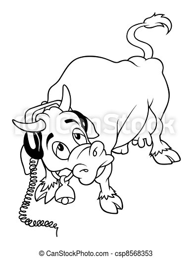 Cow with Headphones - csp8568353