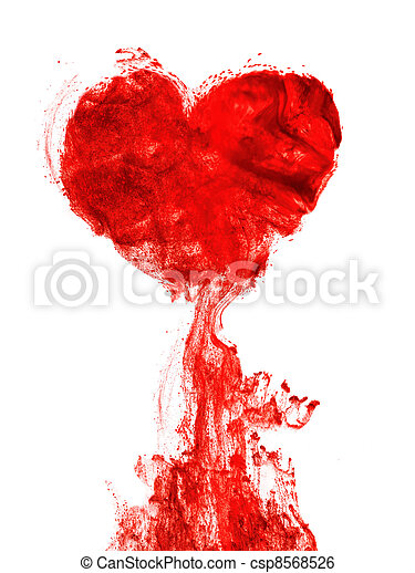 Heart shape ink of blood - csp8568526