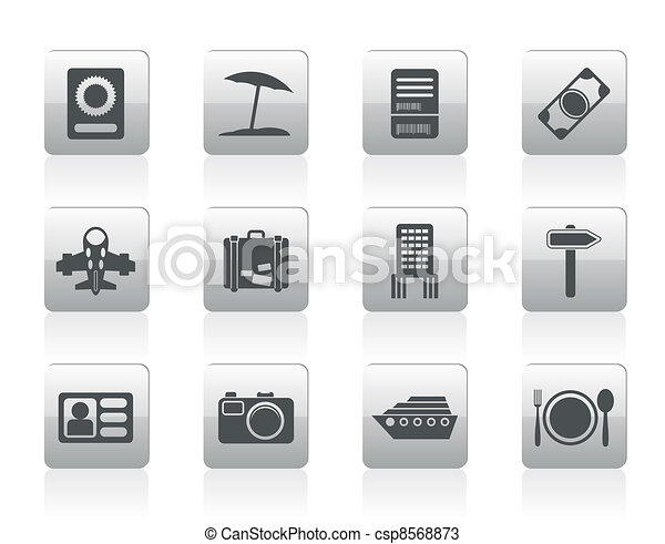 travel, trip and holiday icons  - csp8568873