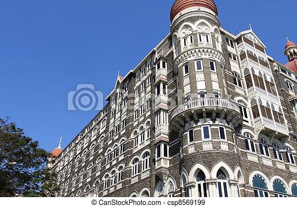 luxury historic hotel Taj Mahal Palace in Mumbai ( formerly Bombay ), India, Asia  - csp8569199