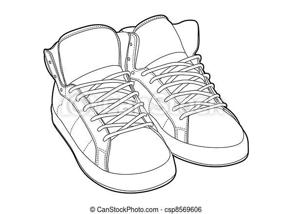 Shoe Outline Clip Art Vector - outline shoes