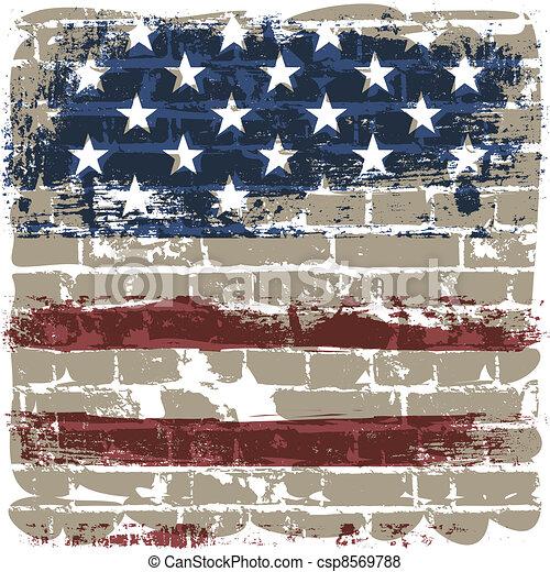 The American flag against a brick wall. - csp8569788