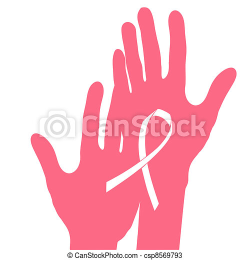 Hands holding breast cancer ribbon, vector illustration. - csp8569793