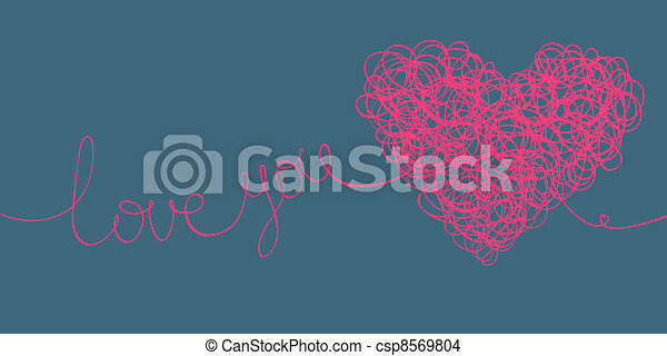 """love you"" words and heart shaped line scribbles on letter format - csp8569804"