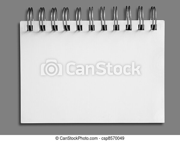 Blank one face white paper notebook horizontal - csp8570049