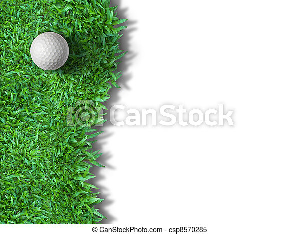 White golf ball on green grass isolated - csp8570285