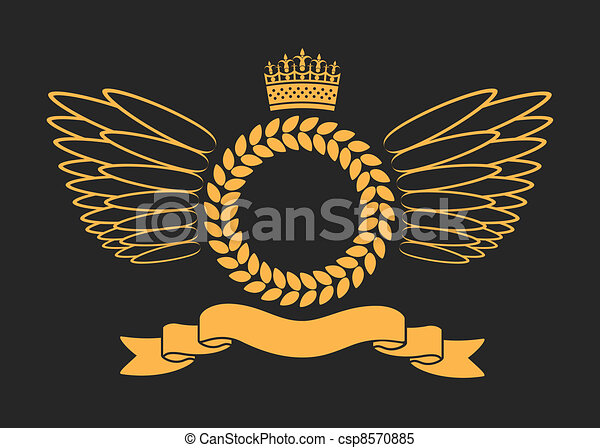 Laurel Wreath With Crown And Wings - csp8570885