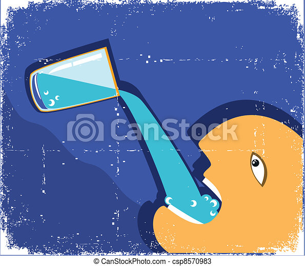 Man drinking glass of water. Vector grunge poster  - csp8570983