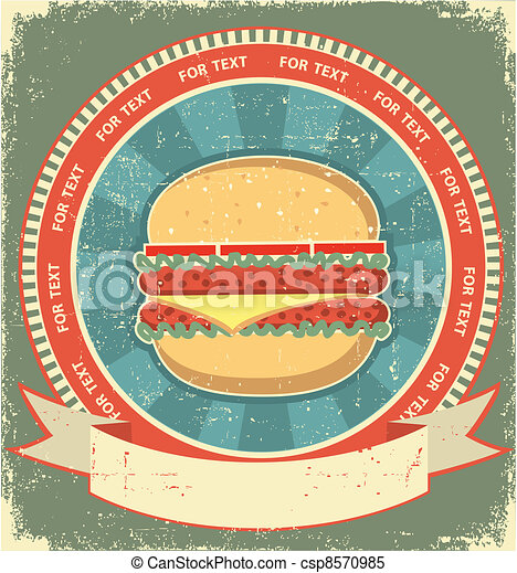 Hamburger label set on old paper texture.Vintage background - csp8570985