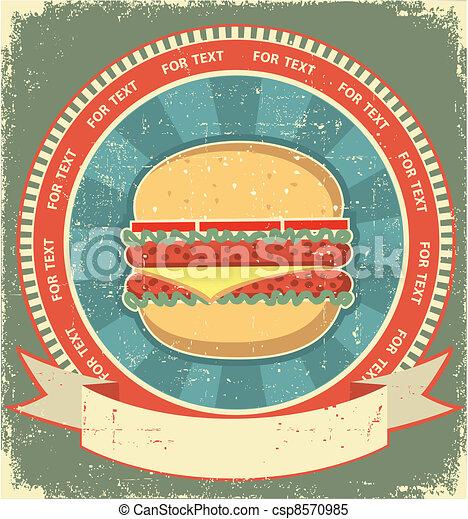 Hamburger label set on old paper texture.Vintage background - csp8570985